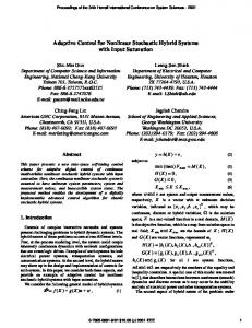 HICSS'01: Adaptive Control for Nonlinear Stochastic