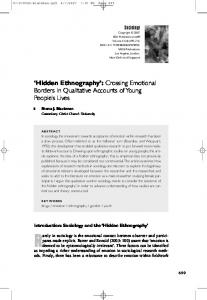 'Hidden Ethnography': Crossing Emotional Borders in Qualitative ...