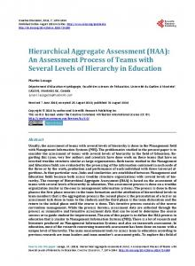 Hierarchical Aggregate Assessment - Scientific Research Publishing