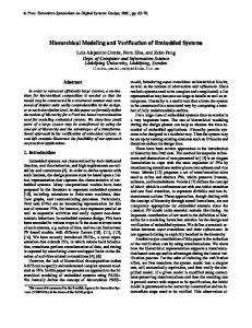 Hierarchical Modeling and Verification of Embedded ... - CiteSeerX