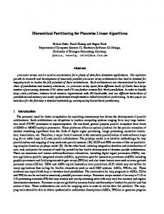 Hierarchical Partitioning for Piecewise Linear Algorithms - CiteSeerX