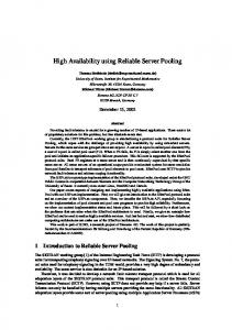 High Availability using Reliable Server Pooling - Semantic Scholar