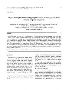 High blood pressure during pregnancy and working conditions among ...