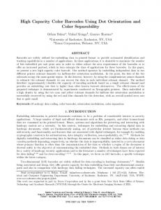 High capacity color barcodes using dot orientation and ... - CiteSeerX