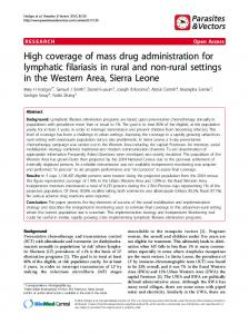 High coverage of mass drug administration for ... - Parasites & Vectors
