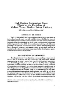 High Daytime Temperature Stress Effects on the Physiology of Modern ...