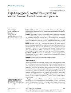 high Dk piggyback contact lens system for contact lens ... - CiteSeerX