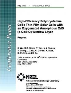 High-Efficiency Polycrystalline CdTe Thin-Film Solar Cells ... - DoE-OSTI