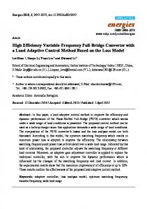 High Efficiency Variable-Frequency Full-Bridge Converter with ... - MDPI