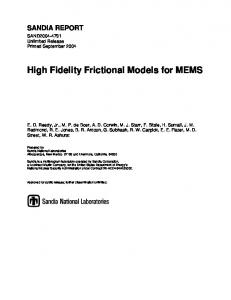 High Fidelity Frictional Models for MEMS - Sandia National Laboratories