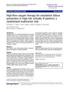 High-flow oxygen therapy for extubation failure ... - Springer Link