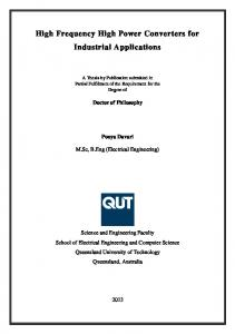 High Frequency High Power Converters for Industrial ... - QUT ePrints