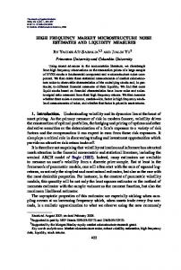 High frequency market microstructure noise ... - Princeton University
