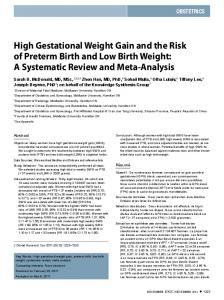 High Gestational Weight Gain and the Risk of Preterm Birth and Low ...