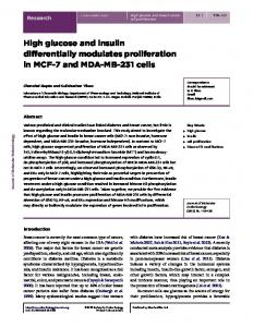 High glucose and insulin differentially modulates ...