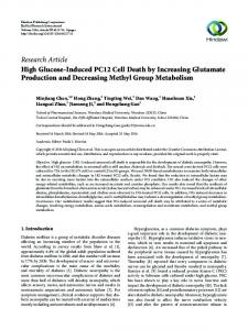 High Glucose-Induced PC12 Cell Death by Increasing Glutamate ...