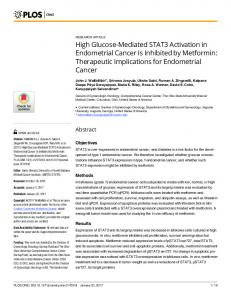 High Glucose-Mediated STAT3 Activation in Endometrial Cancer Is ...