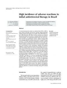 High incidence of adverse reactions to initial antiretroviral ... - SciELO