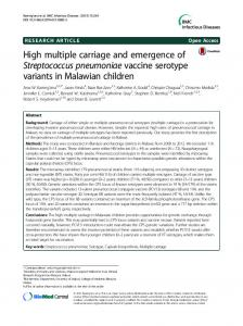 High multiple carriage and emergence of Streptococcus pneumoniae ...