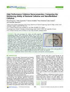 High Performance Cellulose Nanocomposites ... - ACS Publications