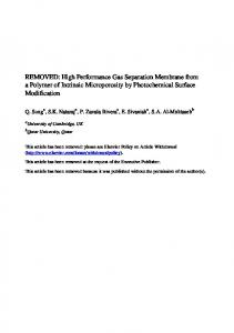 High Performance Gas Separation Membrane from a