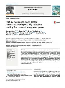 High performance multi-scaled nanostructured spectrally selective ...