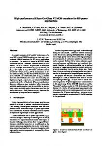 High-performance Silicon-On-Glass VDMOS transistor for RF-power ...