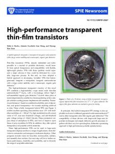 High-performance transparent thin-film transistors - CiteSeerX