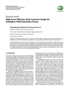High Power Efficiency Buck Converter Design for Standalone Wind ...