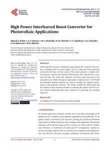 High Power Interleaved Boost Converter for Photovoltaic Applications
