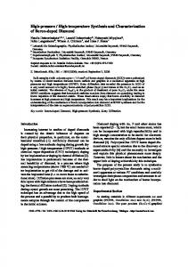 High-pressure / High-temperature Synthesis and Characterization of ...