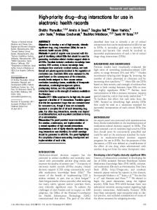 High-priority drugedrug interactions for use in electronic health records