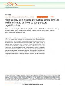 High-quality bulk hybrid perovskite single crystals within ... - CiteSeerX