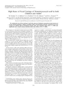 High Rates of Fecal Carriage of Nonenterococcal vanB in both ...
