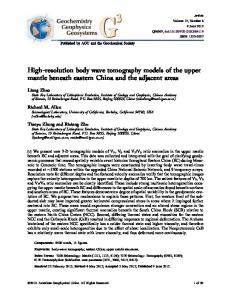 High-resolution body wave tomography models of the ... - Richard Allen