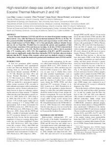 High-resolution deep-sea carbon and oxygen isotope records of ...