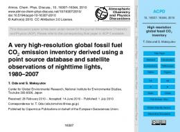 High resolution global fossil CO2 inventory - Core