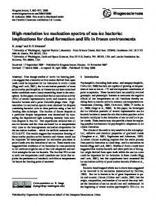 High-resolution ice nucleation spectra of sea-ice bacteria - CiteSeerX