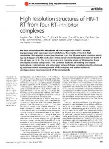 High resolution structures of HIV-1 RT from four RT -inhibitor ... - Nature