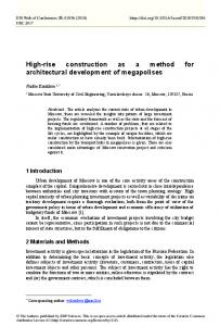 High-rise construction as a method for architectural development of ...
