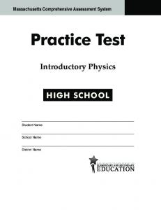 High School Physics Practice Test 2013