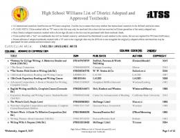 High School Williams List of District Adopted and Approved Textbooks