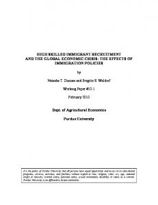 High Skilled Immigrant Recruitment and the Global - AgEcon Search
