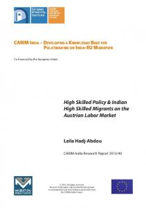 High Skilled Policy & Indian High Skilled Migrants ... - Cadmus Home