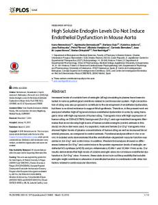 High Soluble Endoglin Levels Do Not Induce Endothelial ... - PLOS