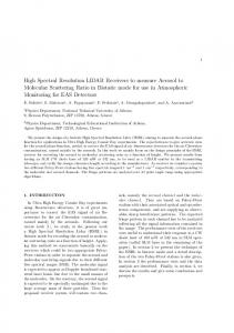 High Spectral Resolution LIDAR Receivers to measure Aerosol to ...