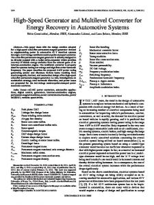 High-Speed Generator and Multilevel Converter for ... - IEEE Xplore