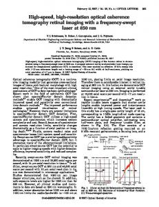 High-speed, high-resolution optical coherence ... - Thorlabs, Inc.
