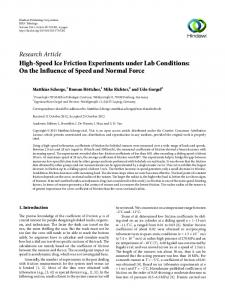 High-Speed Ice Friction Experiments under Lab Conditions: On the ...