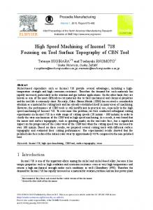 High Speed Machining of Inconel 718 Focusing on ... - ScienceDirect
